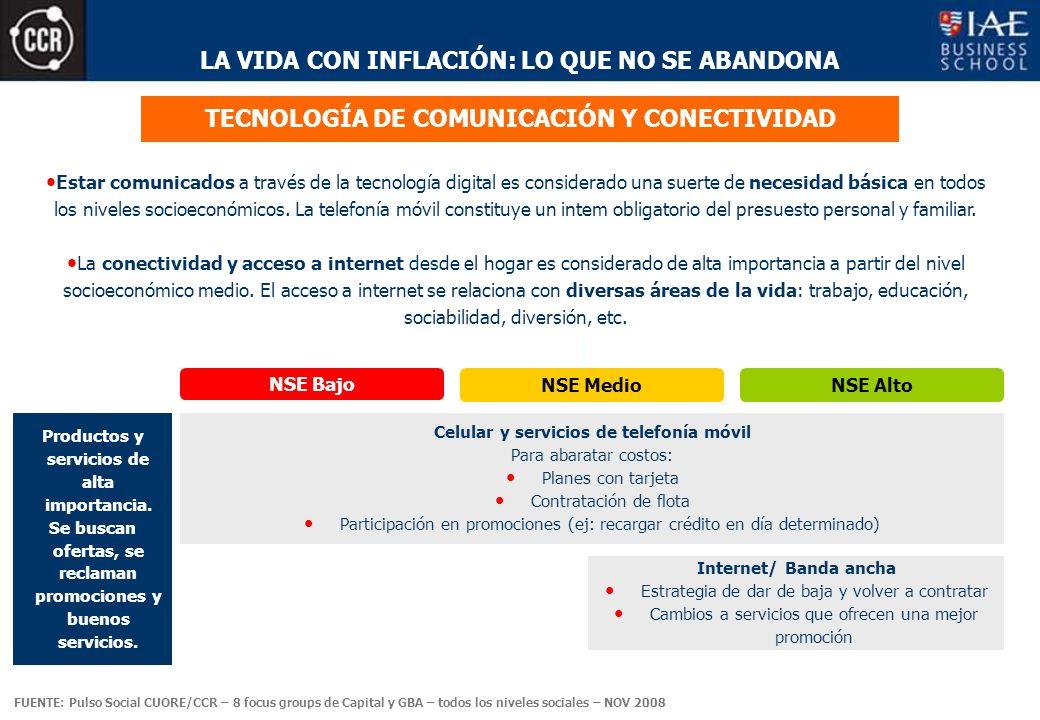 LA VIDA CON INFLACIÓN: LO QUE NO SE ABANDONA TECNOLOGÍA DE COMUNICACIÓN Y CONECTIVIDAD Estar comunicados a través de la tecnología digital es considerado una suerte de necesidad básica en todos los niveles socioeconómicos.