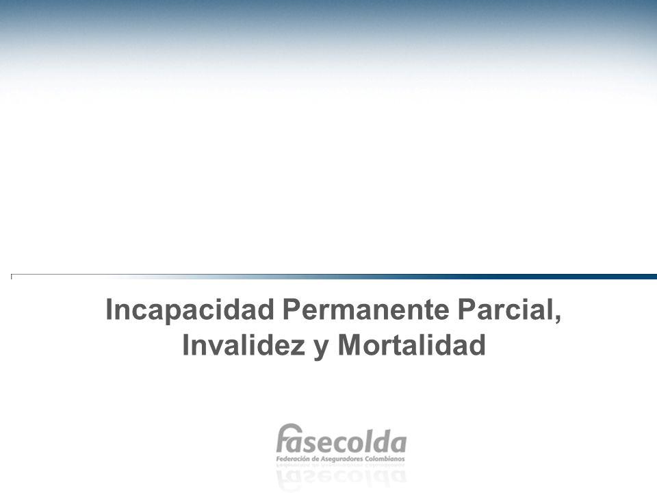 Incapacidad permanente, invalidez y mortalidad Tanto el número como la tasa de incapacidad permanente parcial ha venido en aumento desde la creación del Sistema.