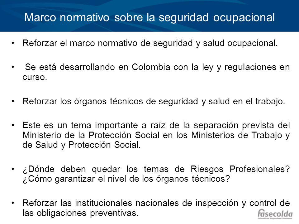 Temas prioritarios en Colombia 2011 Proyecto de Ley de Riesgos Profesionales Modelo de Afiliación Única a la Seguridad Social Variación de la Cotización: permitirá premiar o castigar a las empresas en función de la siniestralidad, la accidentalidad y la efectiva gestión de los riesgos laborales Reglamentación de la Ley de Salud Manual de Calificación de Invalidez Sistema de Información Inclusión trabajadores independientes Sistema de garantía de calidad