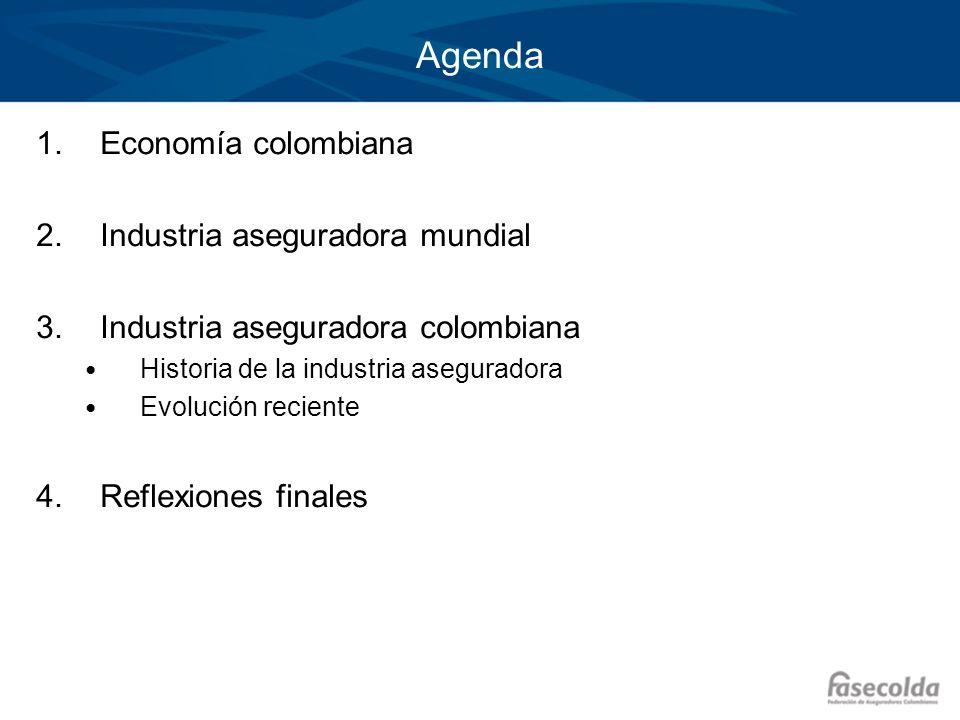 Agenda 1.Economía colombiana 2.Industria aseguradora mundial 3.Industria aseguradora colombiana Historia de la industria aseguradora Evolución recient