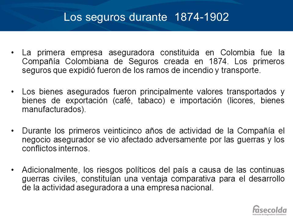 Los seguros durante 1874-1902 La primera empresa aseguradora constituida en Colombia fue la Compañía Colombiana de Seguros creada en 1874. Los primero