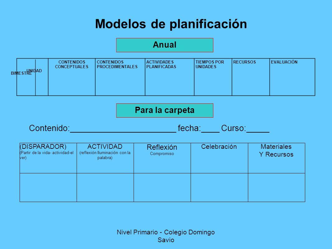 Modelos de planificación Anual Para la carpeta (DISPARADOR) (Partir de la vida- actividad-el ver) ACTIVIDAD (reflexión Iluminación con la palabra) Reflexión Compromiso CelebraciónMateriales Y Recursos EVALUACIÓNRECURSOSTIEMPOS POR UNIDADES ACTIVIDADES PLANIFICADAS CONTENIDOS PROCEDIMENTALES CONTENIDOS CONCEPTUALES BIMESTRE UNIDAD Contenido:_______________________ fecha:____ Curso:_____ Nivel Primario - Colegio Domingo Savio