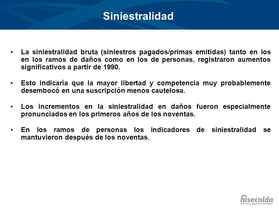 Siniestralidad La siniestralidad bruta (siniestros pagados/primas emitidas) tanto en los en los ramos de daños como en los de personas, registraron au