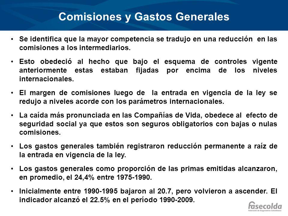 Comisiones y Gastos Generales Se identifica que la mayor competencia se tradujo en una reducción en las comisiones a los intermediarios. Esto obedeció