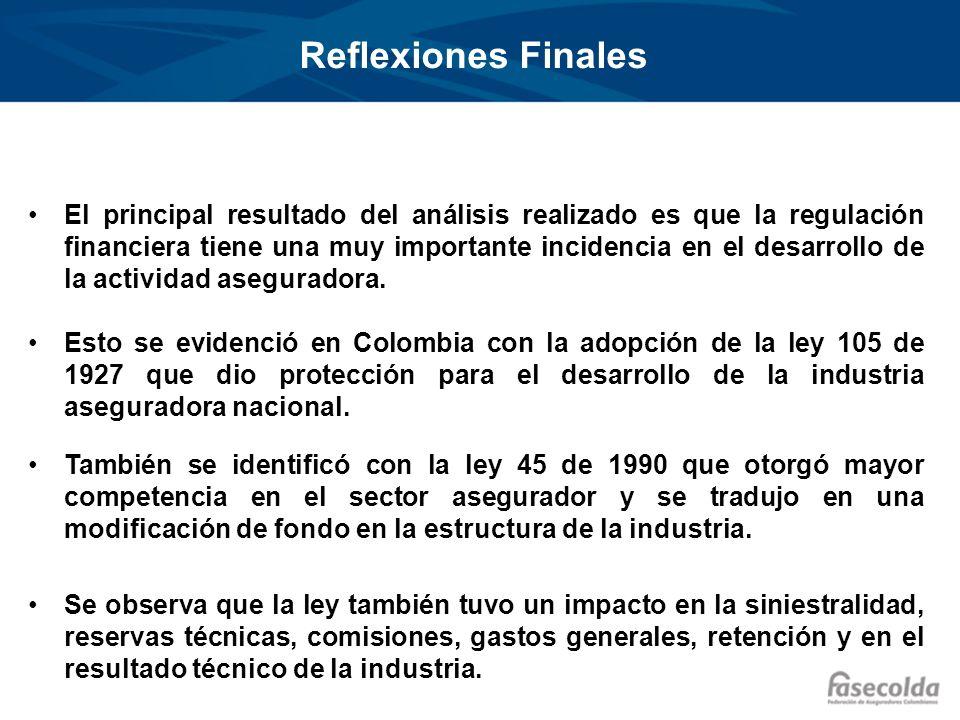 Reflexiones Finales El principal resultado del análisis realizado es que la regulación financiera tiene una muy importante incidencia en el desarrollo