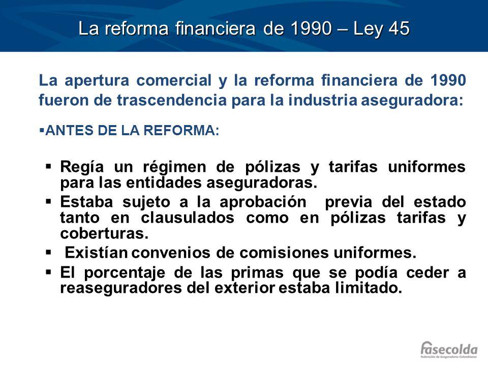 La reforma financiera de 1990 – Ley 45 CON LA REFORMA: Se otorgó libertad para la participación de capital extranjero en las entidades aseguradoras.