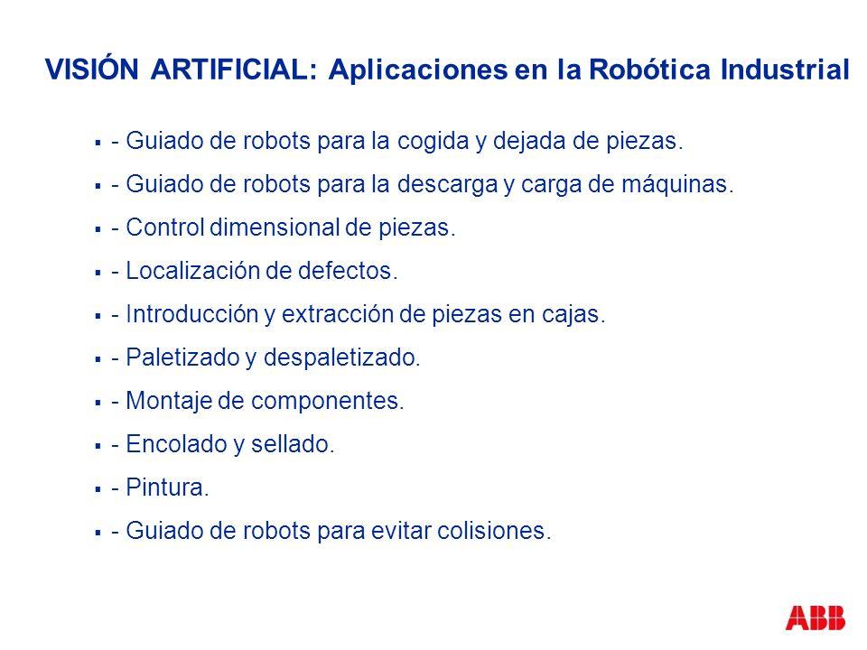 VISIÓN ARTIFICIAL: Aplicaciones en la Robótica Industrial - Guiado de robots para la cogida y dejada de piezas. - Guiado de robots para la descarga y