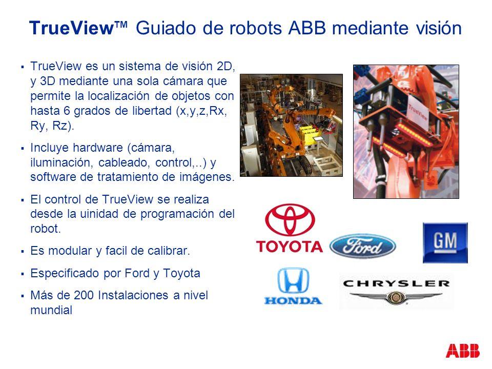 TrueView TM Guiado de robots ABB mediante visión TrueView es un sistema de visión 2D, y 3D mediante una sola cámara que permite la localización de obj