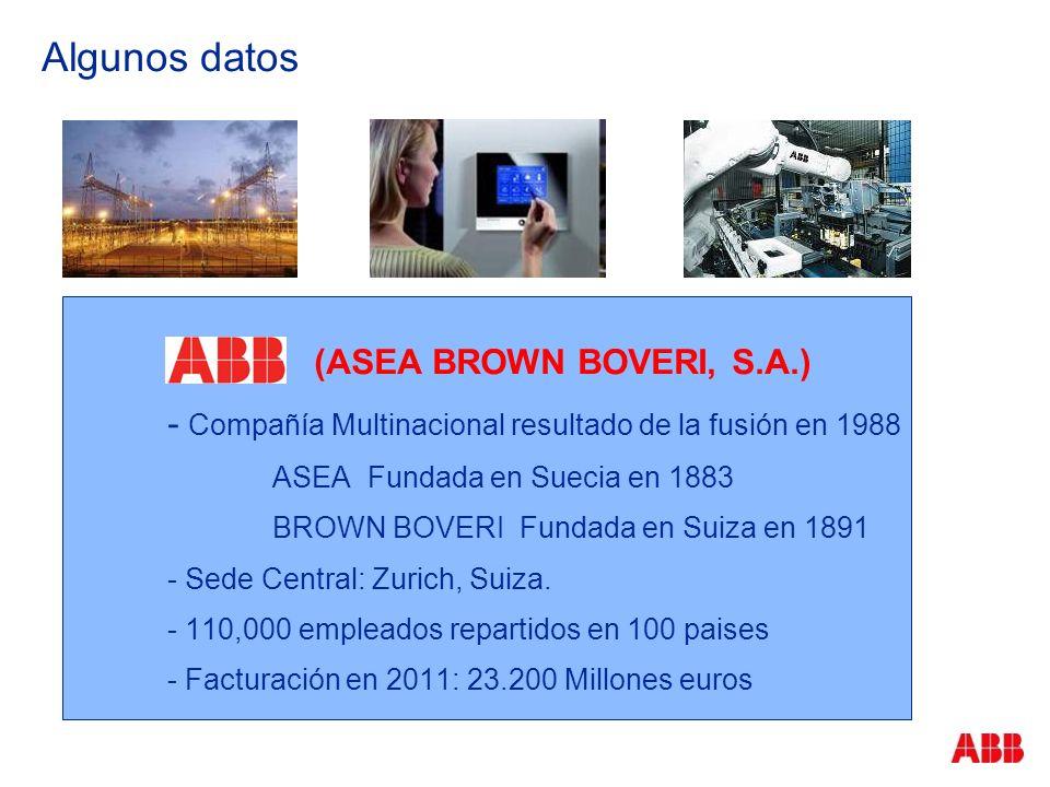 Algunos datos (ASEA BROWN BOVERI, S.A.) - Compañía Multinacional resultado de la fusión en 1988 ASEA Fundada en Suecia en 1883 BROWN BOVERI Fundada en