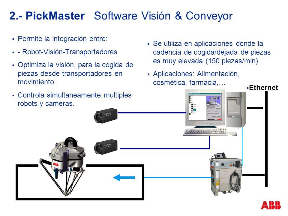 2.- PickMaster Software Visión & Conveyor Permite la integración entre: - Robot-Visión-Transportadores Optimiza la visión, para la cogida de piezas de