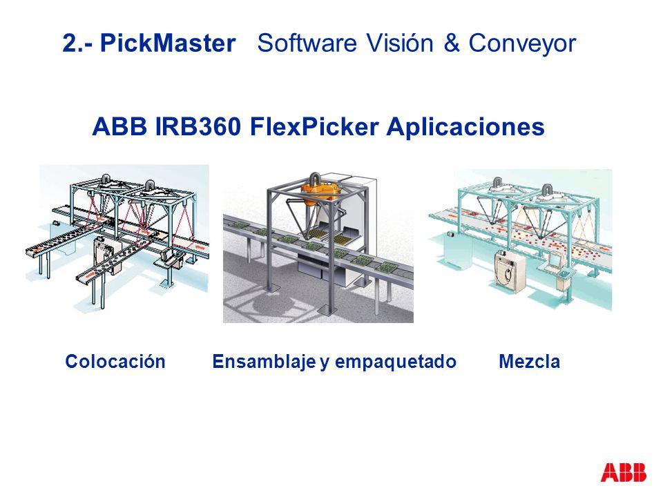 2.- PickMaster Software Visión & Conveyor ABB IRB360 FlexPicker Aplicaciones ColocaciónEnsamblaje y empaquetadoMezcla