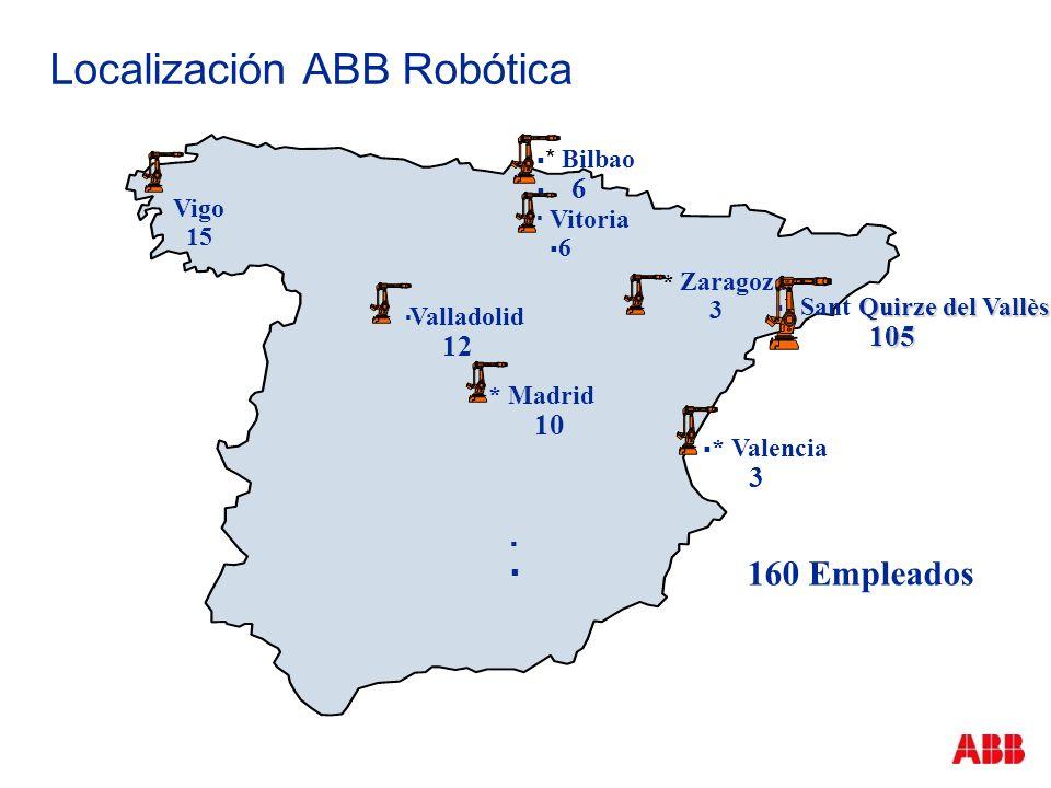 Localización ABB Robótica * Bilbao 6 Quirze del Vallès * Sant Quirze del Vallès 105 105 * Madrid 10 Valladolid 12 * Valencia 3 * Zaragoza 3 Vitoria 6