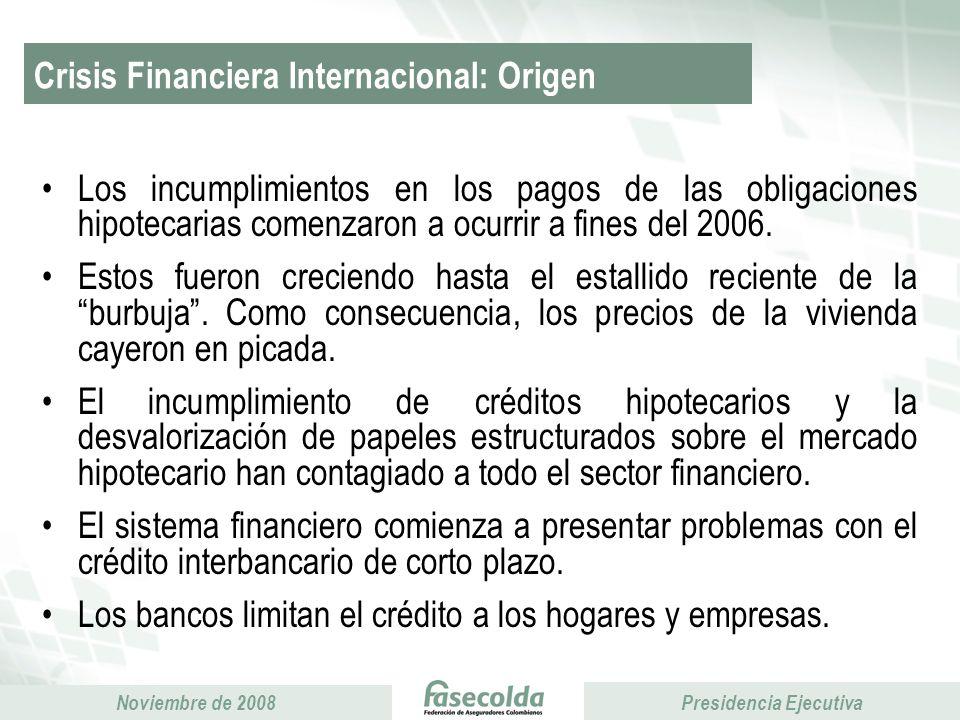 Presidencia Ejecutiva Noviembre de 2008 Presidencia Ejecutiva Primas emitidas Acumulado enero – septiembre Miles de millones de pesos 9% 29% 17%