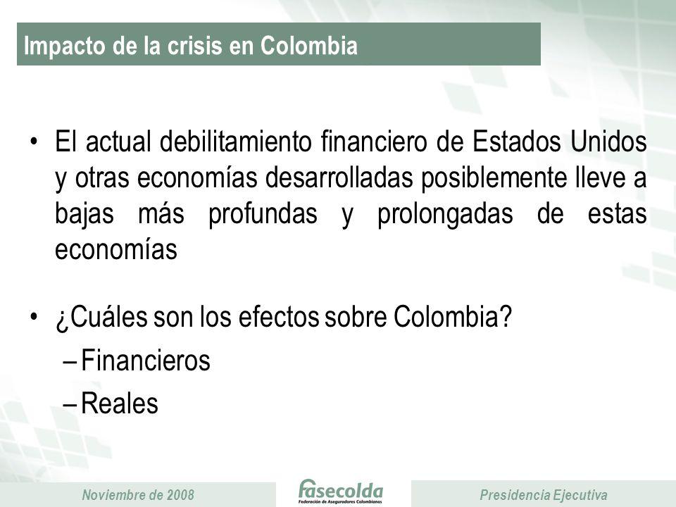 Presidencia Ejecutiva Noviembre de 2008 Presidencia Ejecutiva Diseñar, fomentar, apoyar y desarrollar proyectos de interés común de las aseguradoras involucradas en el Sistema de Pensiones Colombiano, con el fin de contribuir a su crecimiento, desarrollo y sostenibilidad.