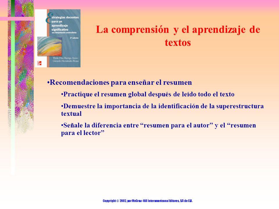 Copyright © 2002, por McGraw-Hill Interamericana Editores, S.A de C.V. La comprensión y el aprendizaje de textos Recomendaciones para enseñar el resum