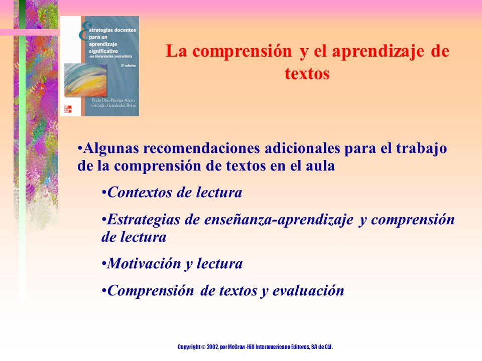 Copyright © 2002, por McGraw-Hill Interamericana Editores, S.A de C.V. La comprensión y el aprendizaje de textos Algunas recomendaciones adicionales p