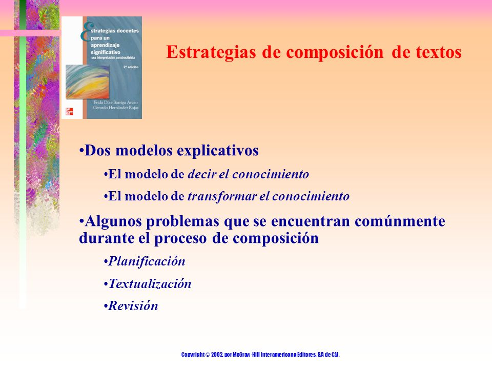 Copyright © 2002, por McGraw-Hill Interamericana Editores, S.A de C.V. Estrategias de composición de textos Dos modelos explicativos El modelo de deci