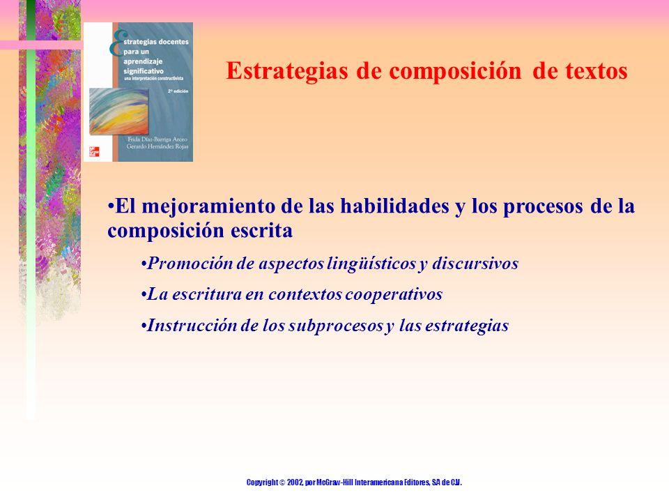 Copyright © 2002, por McGraw-Hill Interamericana Editores, S.A de C.V. Estrategias de composición de textos El mejoramiento de las habilidades y los p