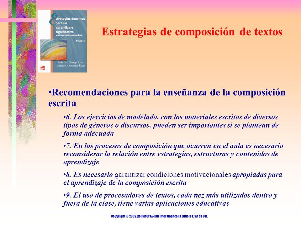 Copyright © 2002, por McGraw-Hill Interamericana Editores, S.A de C.V. Estrategias de composición de textos Recomendaciones para la enseñanza de la co