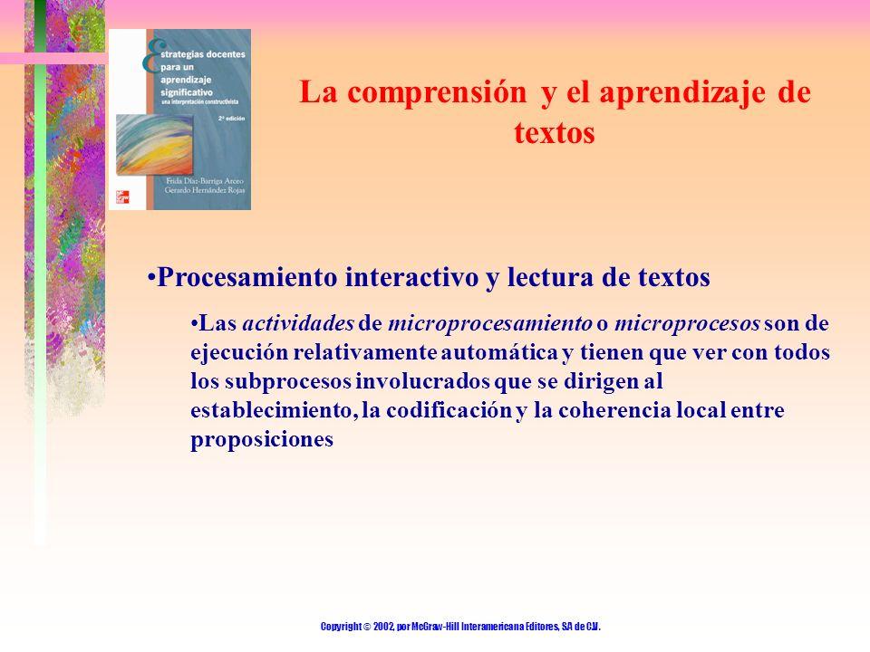 Copyright © 2002, por McGraw-Hill Interamericana Editores, S.A de C.V. La comprensión y el aprendizaje de textos Procesamiento interactivo y lectura d