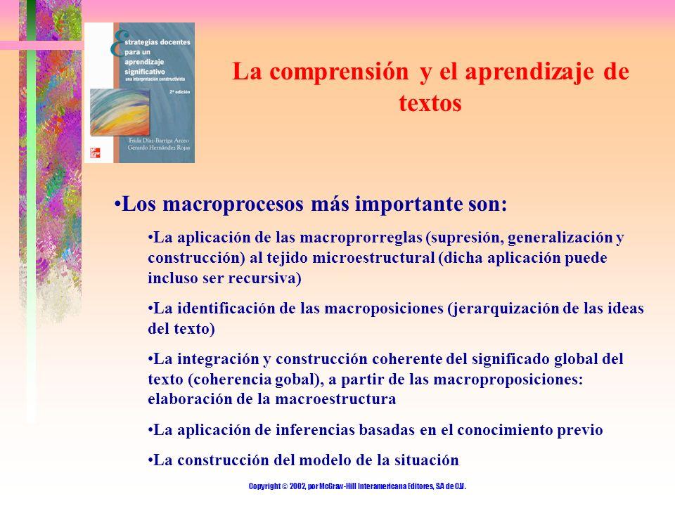 Copyright © 2002, por McGraw-Hill Interamericana Editores, S.A de C.V. La comprensión y el aprendizaje de textos Los macroprocesos más importante son: