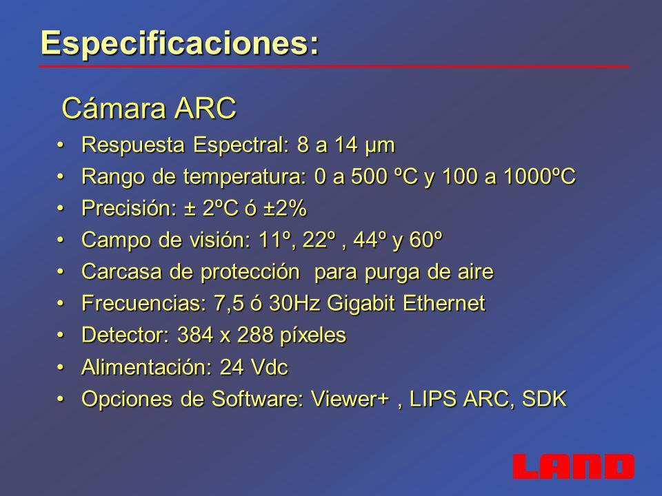 Especificaciones: Cámara ARC Cámara ARC Respuesta Espectral: 8 a 14 µmRespuesta Espectral: 8 a 14 µm Rango de temperatura: 0 a 500 ºC y 100 a 1000ºCRa