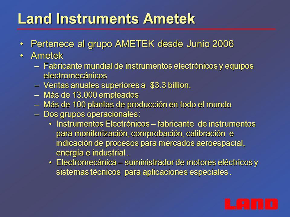 Land Instruments Ametek Pertenece al grupo AMETEK desde Junio 2006Pertenece al grupo AMETEK desde Junio 2006 AmetekAmetek –Fabricante mundial de instr