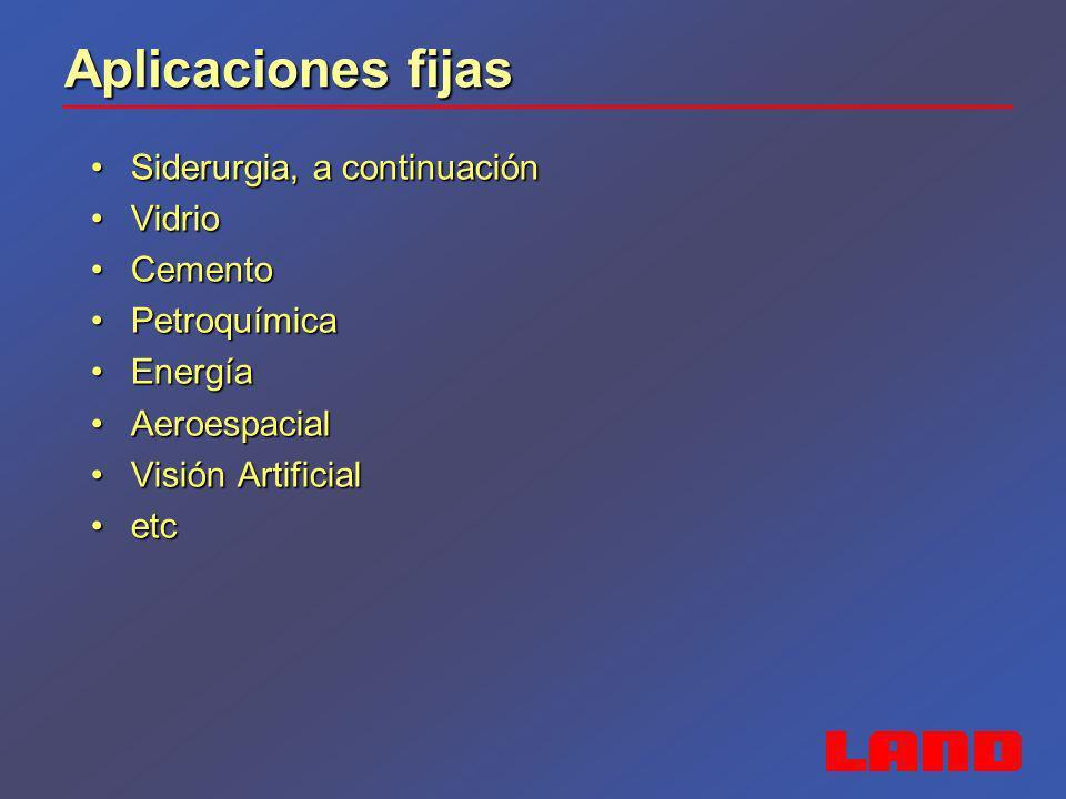Aplicaciones fijas Siderurgia, a continuaciónSiderurgia, a continuación VidrioVidrio CementoCemento PetroquímicaPetroquímica EnergíaEnergía Aeroespaci