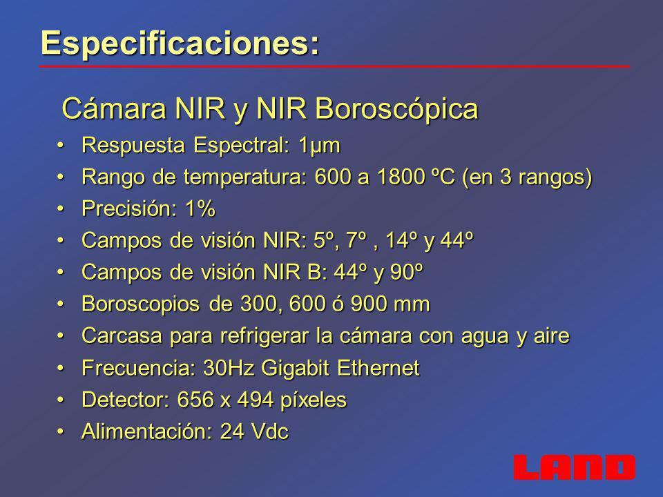 Especificaciones: Cámara SDS - E Cámara SDS - E Respuesta Espectral: 3,9 µmRespuesta Espectral: 3,9 µm Rango de temperatura: 600 a 2000 ºCRango de temperatura: 600 a 2000 ºC Precisión: 1%Precisión: 1% Campo de visión: 7º x 5ºCampo de visión: 7º x 5º Carcasa para refrigerar la cámara con agua y aireCarcasa para refrigerar la cámara con agua y aire Frecuencia: 30Hz Gigabit EthernetFrecuencia: 30Hz Gigabit Ethernet Detector: 384 x 288 píxelesDetector: 384 x 288 píxeles Alimentación: 24 VdcAlimentación: 24 Vdc Software específico para detección de escoriaSoftware específico para detección de escoria