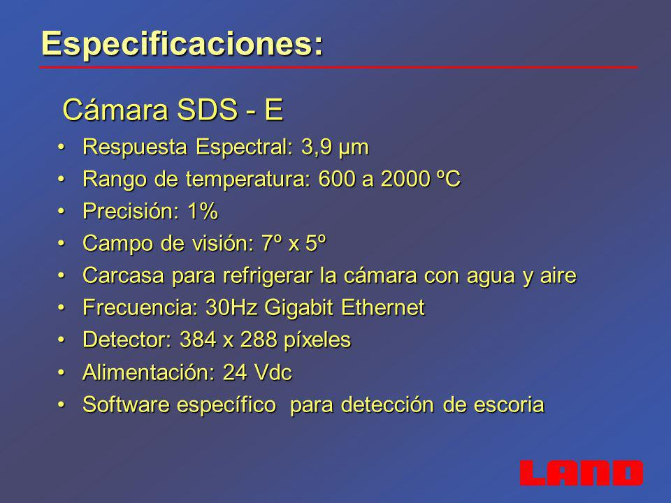 Especificaciones: Sistema de barrido Landscan Sistema de barrido Landscan Respuesta Espectral: 1 µmRespuesta Espectral: 1 µm Rango de temperatura: 600 a 1400 ºCRango de temperatura: 600 a 1400 ºC Precisión: ± 2ºCPrecisión: ± 2ºC Campo de visión: 500:1Campo de visión: 500:1 Ángulo de barrido: 80ºÁngulo de barrido: 80º Velocidad de barrido: 10 a 150 HzVelocidad de barrido: 10 a 150 Hz 1000 puntos de medida por barrido1000 puntos de medida por barrido Alineamiento LáserAlineamiento Láser Carcasa para refrigerar la cámara con agua y aireCarcasa para refrigerar la cámara con agua y aire Software WCA especificoSoftware WCA especifico