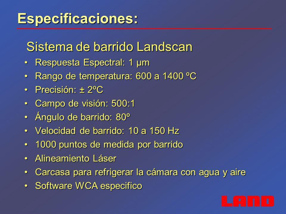 Especificaciones: Cámara ARC Cámara ARC Respuesta Espectral: 8 a 14 µmRespuesta Espectral: 8 a 14 µm Rango de temperatura: 0 a 500 ºC y 100 a 1000ºCRango de temperatura: 0 a 500 ºC y 100 a 1000ºC Precisión: ± 2ºC ó ±2%Precisión: ± 2ºC ó ±2% Campo de visión: 11º, 22º, 44º y 60ºCampo de visión: 11º, 22º, 44º y 60º Carcasa de protección para purga de aireCarcasa de protección para purga de aire Frecuencias: 7,5 ó 30Hz Gigabit EthernetFrecuencias: 7,5 ó 30Hz Gigabit Ethernet Detector: 384 x 288 píxelesDetector: 384 x 288 píxeles Alimentación: 24 VdcAlimentación: 24 Vdc Opciones de Software: Viewer+, LIPS ARC, SDKOpciones de Software: Viewer+, LIPS ARC, SDK
