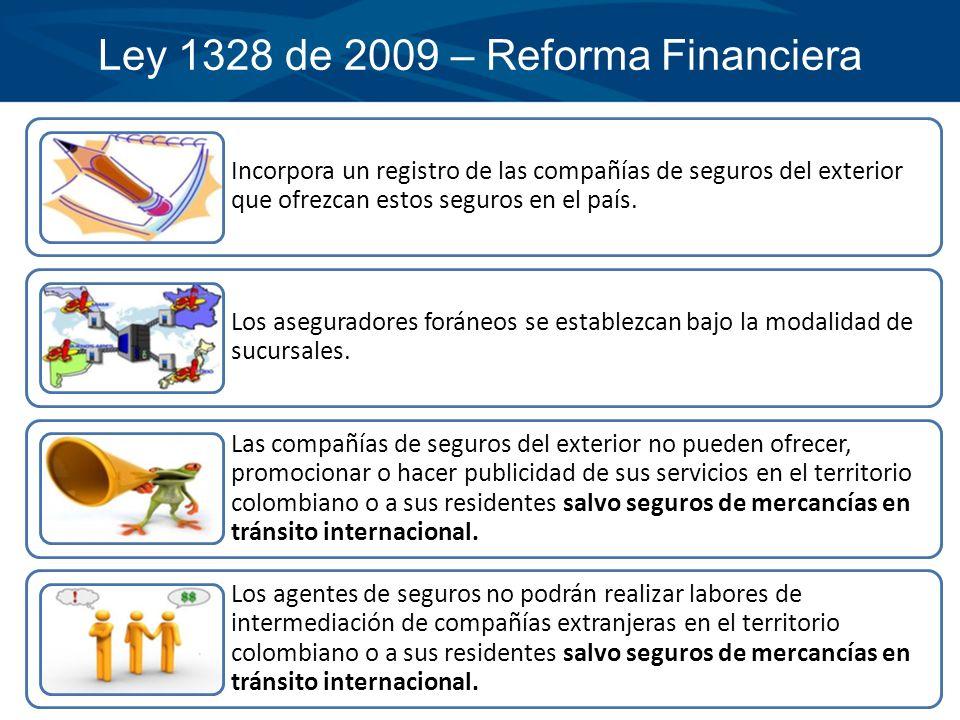 Ley 1328 de 2009 – Reforma Financiera Incorpora un registro de las compañías de seguros del exterior que ofrezcan estos seguros en el país. Los asegur
