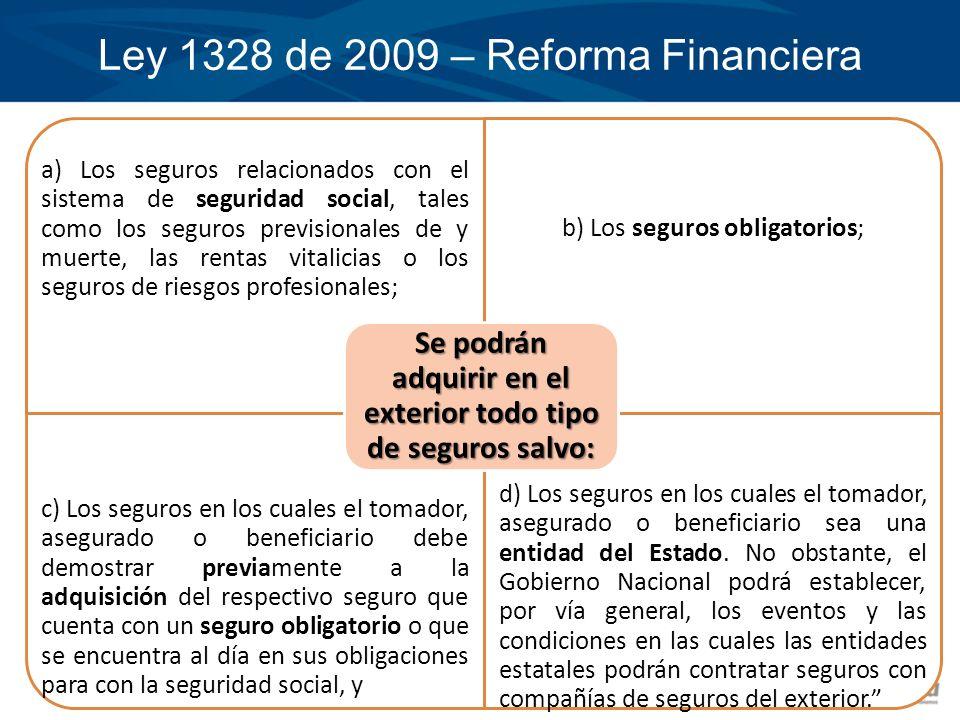 Ley 1328 de 2009 – Reforma Financiera a) Los seguros relacionados con el sistema de seguridad social, tales como los seguros previsionales de y muerte