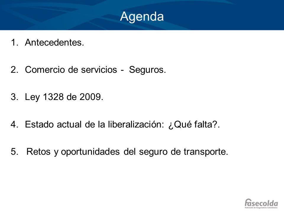 Agenda 1.Antecedentes. 2.Comercio de servicios - Seguros. 3.Ley 1328 de 2009. 4.Estado actual de la liberalización: ¿Qué falta?. 5. Retos y oportunida