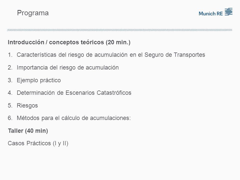 Programa Introducción / conceptos teóricos (20 min.) 1.Características del riesgo de acumulación en el Seguro de Transportes 2.Importancia del riesgo de acumulación 3.Ejemplo práctico 4.Determinación de Escenarios Catastróficos 5.Riesgos 6.Métodos para el cálculo de acumulaciones: Taller (40 min) Casos Prácticos (I y II)