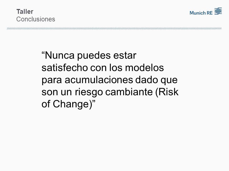 Taller Conclusiones Nunca puedes estar satisfecho con los modelos para acumulaciones dado que son un riesgo cambiante (Risk of Change)