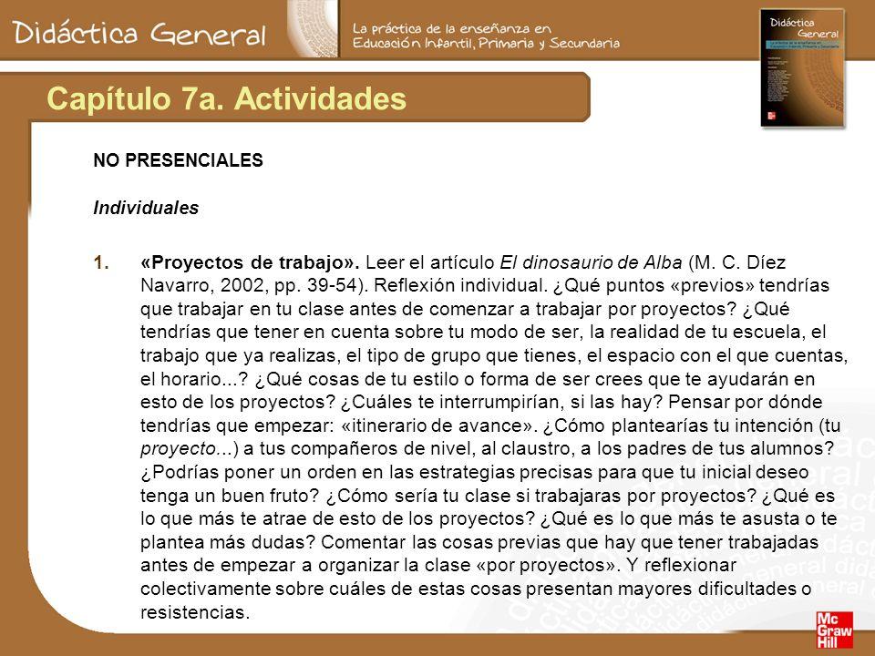 Capítulo 7a. Actividades NO PRESENCIALES Individuales 1.«Proyectos de trabajo». Leer el artículo El dinosaurio de Alba (M. C. Díez Navarro, 2002, pp.