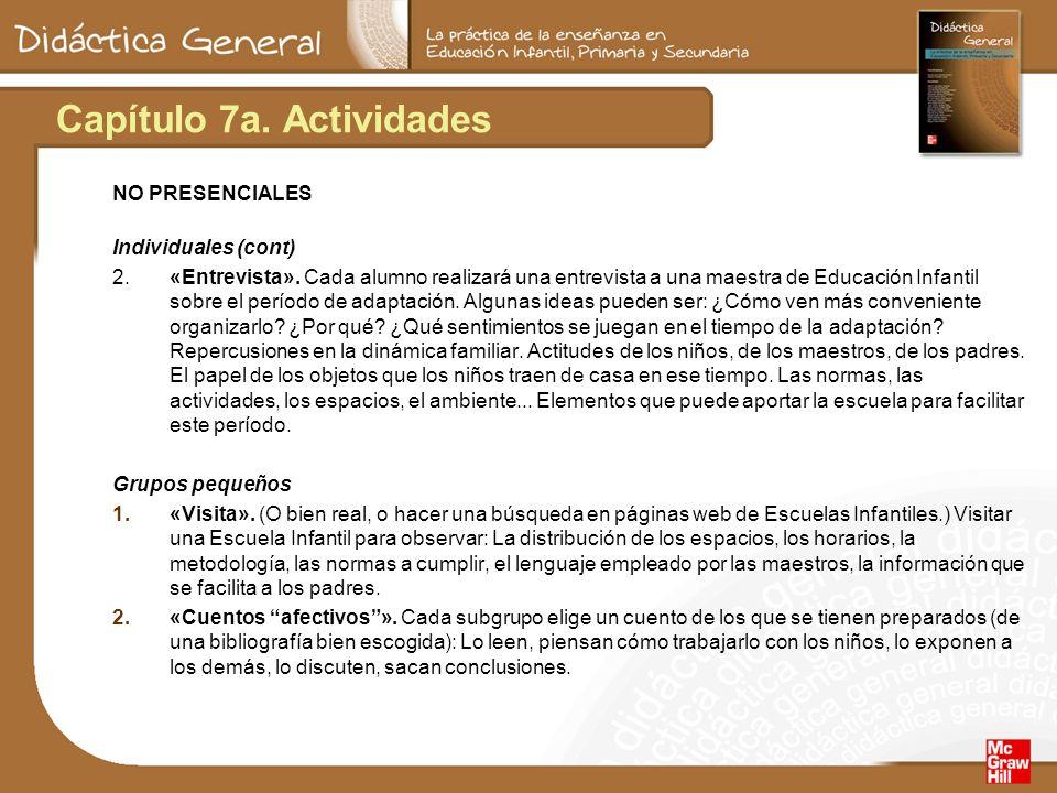 Capítulo 7a. Actividades NO PRESENCIALES Individuales (cont) 2.«Entrevista». Cada alumno realizará una entrevista a una maestra de Educación Infantil