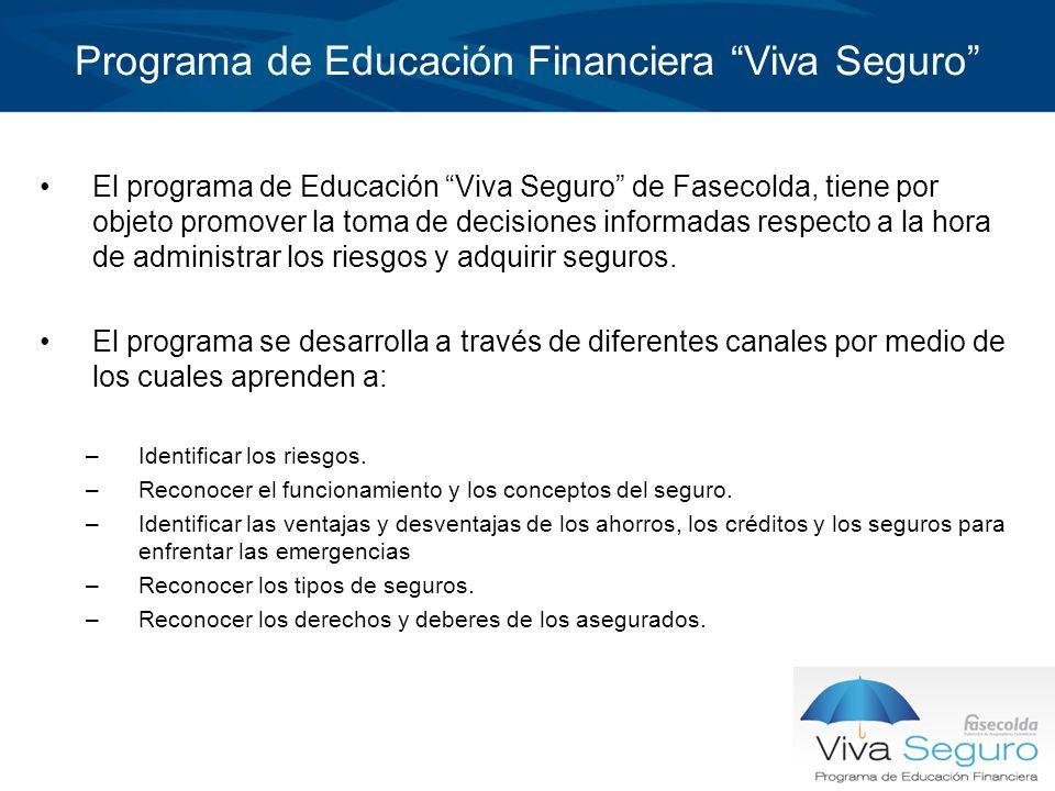 Programa de Educación Financiera Viva Seguro El programa de Educación Viva Seguro de Fasecolda, tiene por objeto promover la toma de decisiones inform
