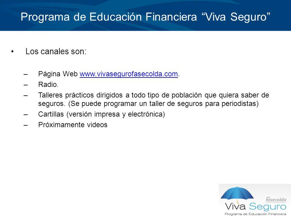 Programa de Educación Financiera Viva Seguro Los canales son: –Página Web www.vivasegurofasecolda.com.www.vivasegurofasecolda.com –Radio. –Talleres pr
