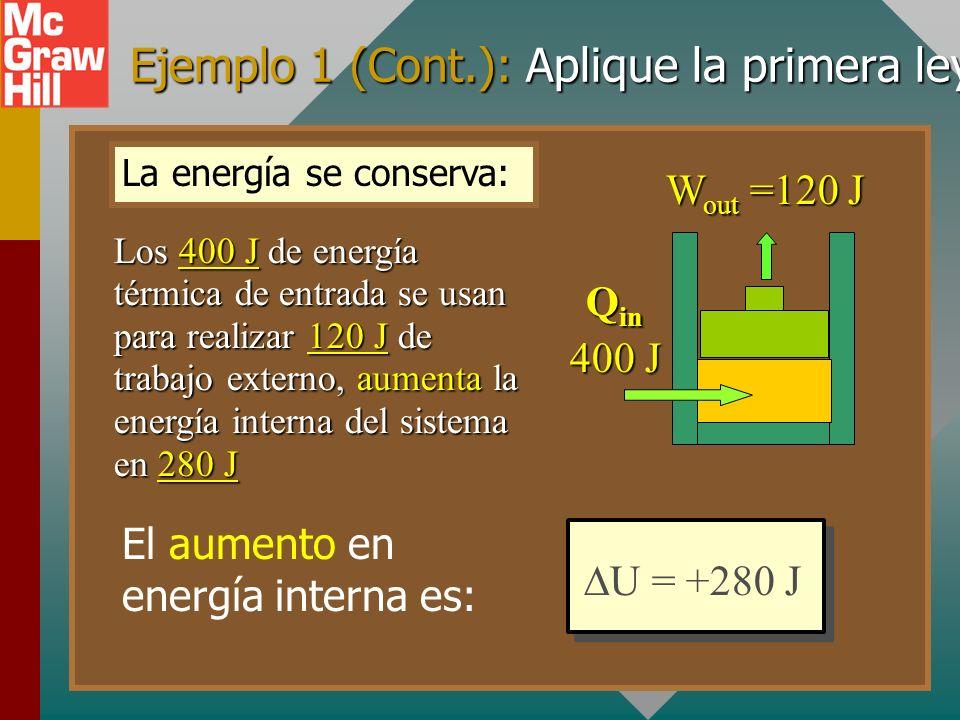 Ejemplo 1 (Cont.): Aplique la primera ley U = +280 J Q in 400 J W out =120 J U = Q - W U = Q - W = (+400 J) - (+120 J) = (+400 J) - (+120 J) = +280 J