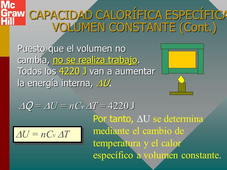 CAPACIDADS CALORÍFICA ESPECÍFICA A VOLUMEN CONSTANTE ¿Cuánto calor se requiere para elevar la temperatura de 2 moles de O 2 de 0 o C a 100 o C? Q = (2