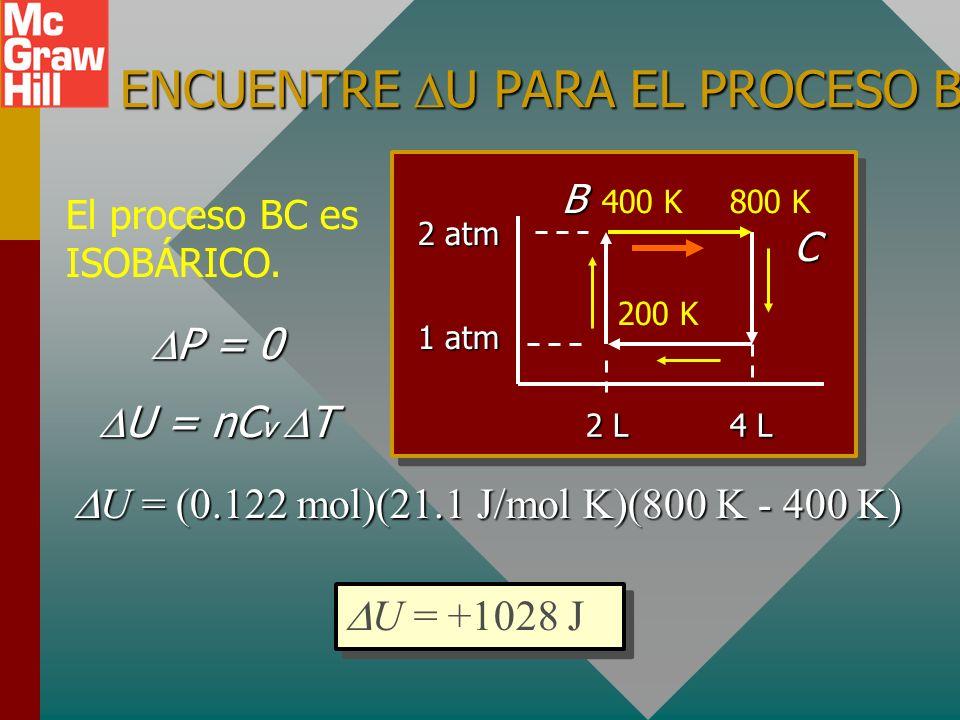 PROCESO BC: ISOBÁRICO ¿Cuál es el volumen en el punto C (y D)? V B V C T B T C = 2 L V C 2 L V C 400 K 800 K = BC PBPBPBPB 2 L 1 atm 200 K 400 K800 K