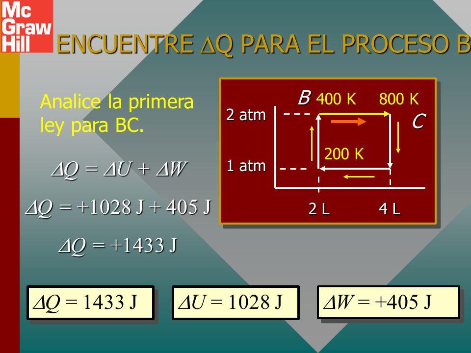 ENCUENTRE W PARA EL PROCESO BC. El trabajo depende del cambio en V. P = 0 Trabajo = P V W = (2 atm)(4 L - 2 L) = 4 atm L = 405 J W = (2 atm)(4 L - 2 L