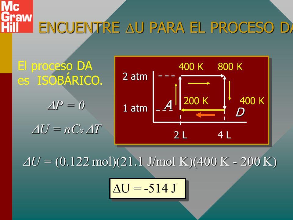 PROCESO CD: Q = U + W Analice la primera ley para el proceso ISOCÓRICO CD. W = 0 W = 0 Q = U = nC v T Q = U = nC v T U = (0.122 mol)(21.1 J/mol K)(400
