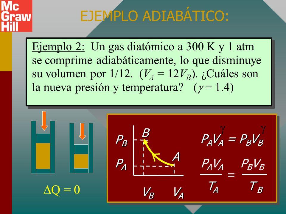 TRABAJO NETO PARA CICLOS COMPLETOS ES ÁREA ENCERRADA BC 2 L 1 atm 4 L 2 atm +404 J BC 2 L 1 atm 4 L 2 atm Neg -202 J área = (1 atm)(2 L) trabajo neto