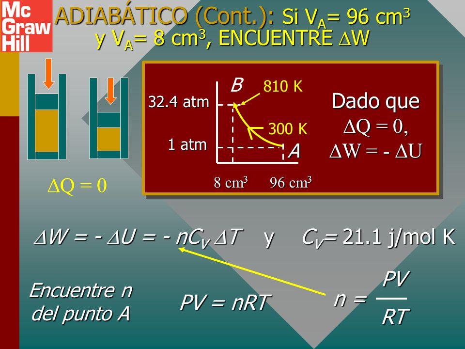 ADIABÁTICO (Cont.): ENCUENTRE T B Q = 0 T B = 810 K (1 atm)(12V B ) (32.4 atm)(1 V B ) (300 K) T B = A B 32.4 atm V B 12V B 1 atm 300 K Resuelva para