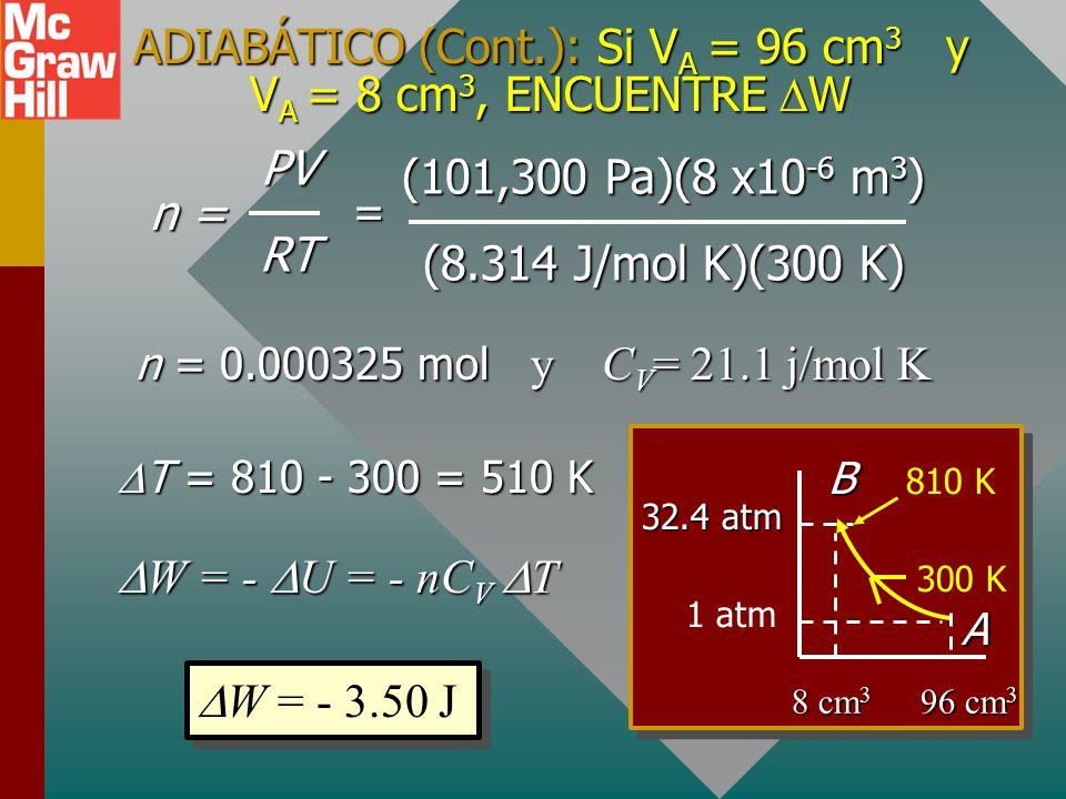 ADIABÁTICO (Cont.): Si V A = 96 cm 3 y V A = 8 cm 3, ENCUENTRE W Q = 0 W = - U = - nC V T y C V = 21.1 j/mol K W = - U = - nC V T y C V = 21.1 j/mol K