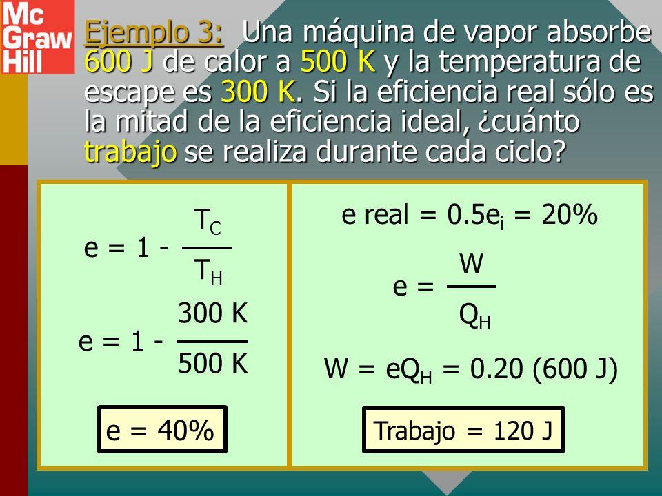 EFICIENCIA DE UNA MÁQUINA IDEAL (máquina de Carnot) Para una máquina perfecta, las cantidades Q de calor ganado y perdido son proporcionales a las tem