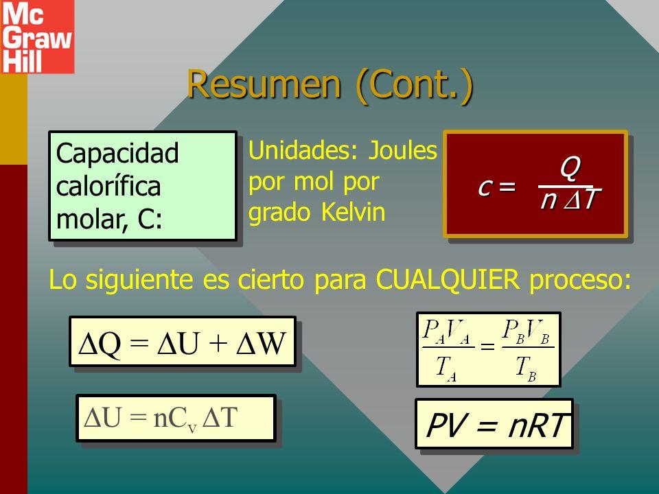 Resumen Q = U + W final - inicial) Primera ley de la termodinámica: el calor neto que toma un sistema es igual a la suma del cambio en energía interna